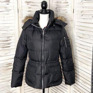 MARC NEW YORK | Fur Hooded Down Black Jacket Sm